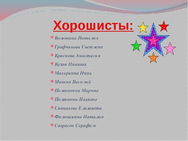 Хорошисты: Болотина Наталия Графчикова Светлана Краснова Анастасия Кузин Ник...