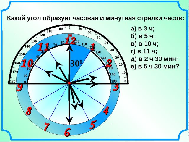 1 2 3 9 6 12 11 10 8 7 4 5 Какой угол образует часовая и минутная стрелки час...