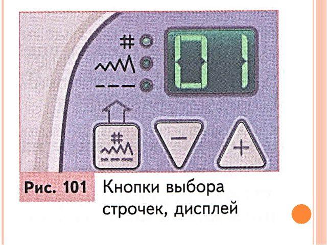 На передней панели швейной машины есть кнопка выбора строчек. Они расположен...
