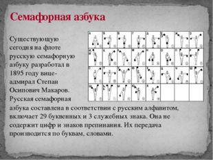 Семафорная азбука Существующую сегодня на флоте русскую семафорную азбуку раз
