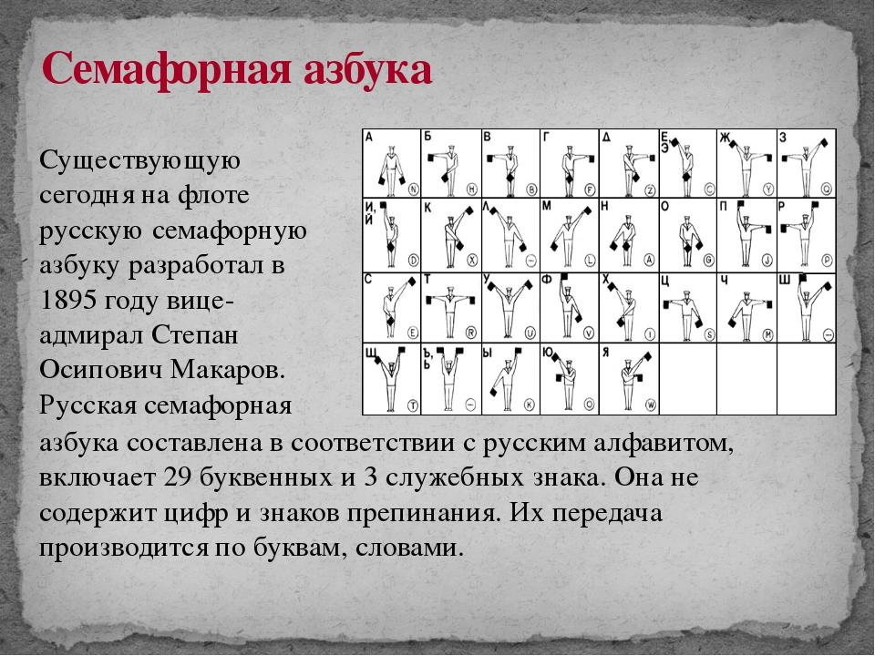 Семафорная азбука Существующую сегодня на флоте русскую семафорную азбуку раз...