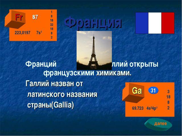Франция Франций и галлий открыты французскими химиками. Галлий назван от лат...