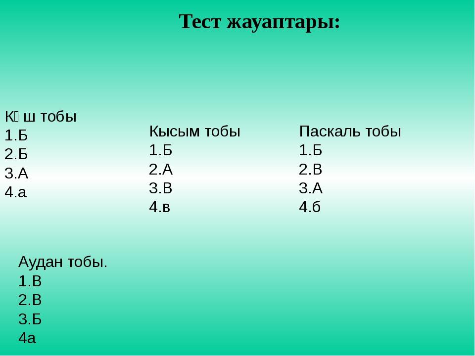 Тест жауаптары: Күш тобы 1.Б 2.Б 3.А 4.а Кысым тобы 1.Б 2.А 3.В 4.в Паскаль т...