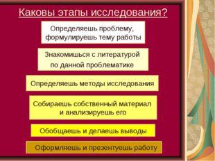 Каковы этапы исследования? Определяешь проблему, формулируешь тему работы Зна