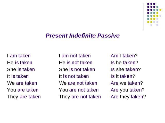 Present Indefinite Passive I am taken He is taken She is taken It is taken We...