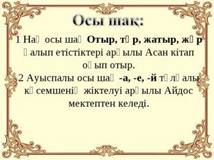 1 Нақ осы шақ Отыр, тұр, жатыр, жүр қалып етістіктері арқылы Асан кітап оқып