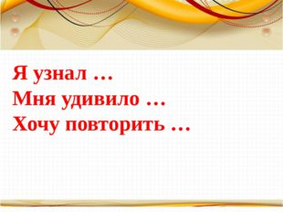 Я узнал … Мня удивило … Хочу повторить … Борисова Анна Владимировна