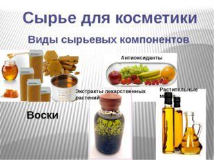 Сырье для косметики Виды сырьевых компонентов Воски Антиоксиданты Экстракты л