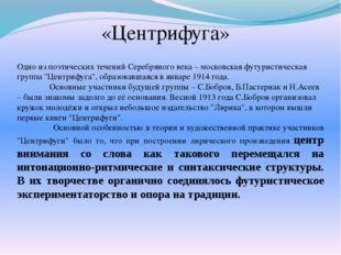 «Центрифуга» Одно из поэтических течений Серебряного века – московская футури