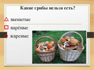 Какие грибы нельзя есть?  вымытые  варёные  жареные