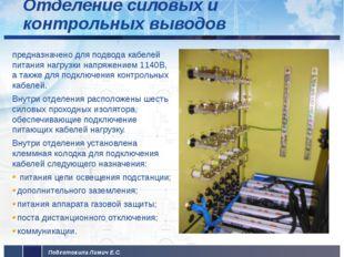 Отделение силовых и контрольных выводов предназначено для подвода кабелей пи