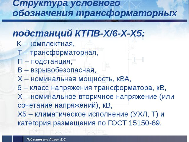 Структура условного обозначения трансформаторных подстанций КТПВ-Х/6-Х-Х5: К...