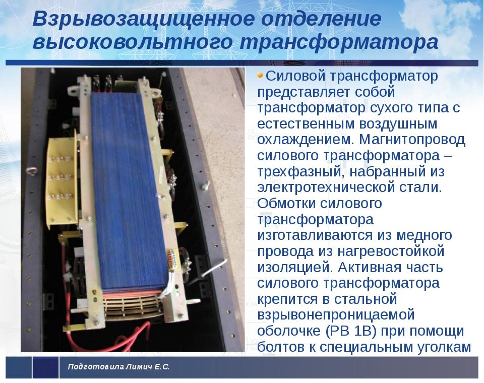 Взрывозащищенное отделение высоковольтного трансформатора Силовой трансформат...