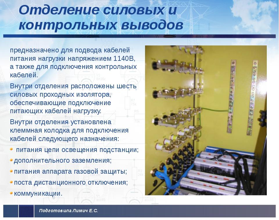 Отделение силовых и контрольных выводов предназначено для подвода кабелей пи...