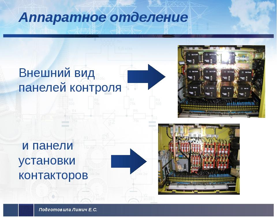 Аппаратное отделение Внешний вид панелей контроля и панели установки контакто...