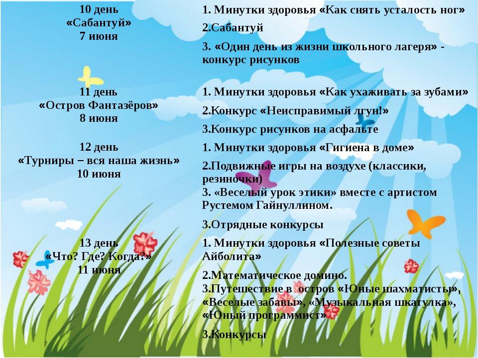10 день «Сабантуй» 7 июня 1. Минутки здоровья«Как снять усталость ног» 2.Саба...