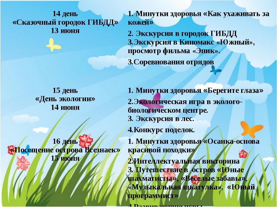 14 день «Сказочный городок ГИБДД» 13 июня 1. Минутки здоровья«Как ухаживать з...
