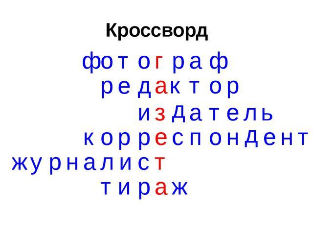 Кроссворд а р е д к т о р ф о т о р а ф г д и з а т е л ь к о р р е с п о н д...
