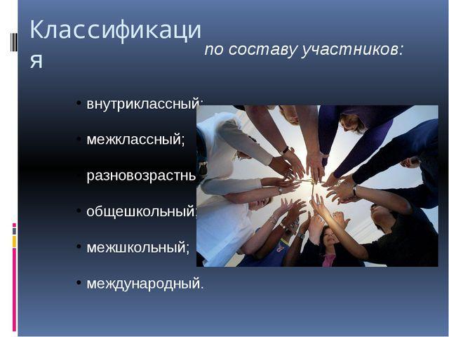 Классификация по составу участников: внутриклассный; межклассный; разновозрас...