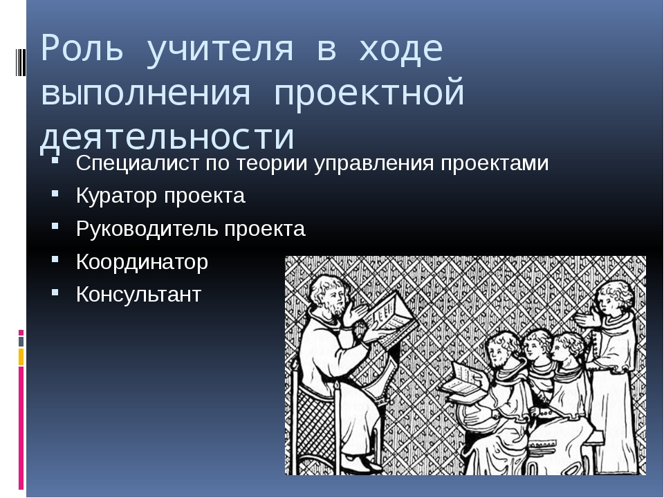 Роль учителя в ходе выполнения проектной деятельности Специалист по теории уп...