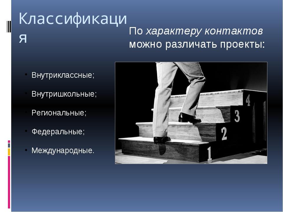 Классификация По характеру контактов можно различать проекты: Внутриклассные;...