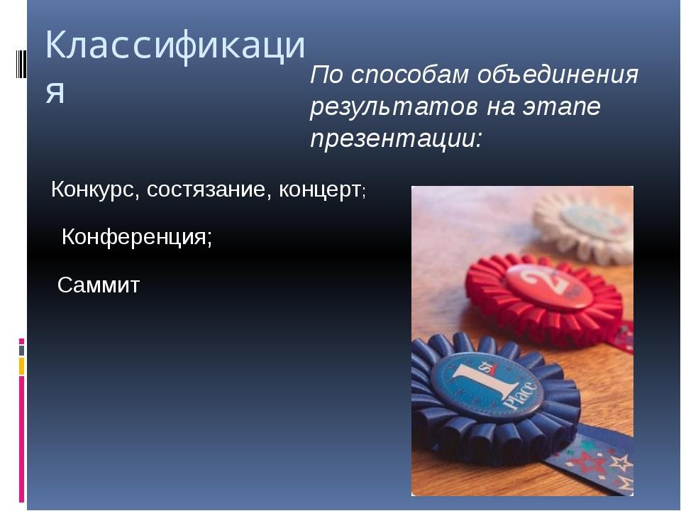 Классификация По способам объединения результатов на этапе презентации: Конку...