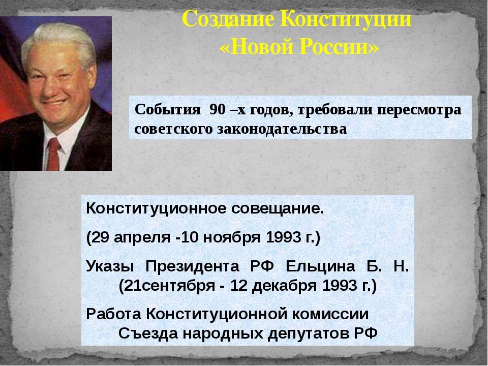 Конституционное совещание. (29 апреля -10 ноября 1993 г.) Указы Президента РФ...