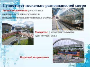 Существует несколько разновидностей метро Легкий метрополитен располагается н