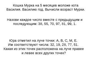 Юра отметил на луче точки: А, В, С, М, Е. Им соответствуют числа: 32, 19, 28,