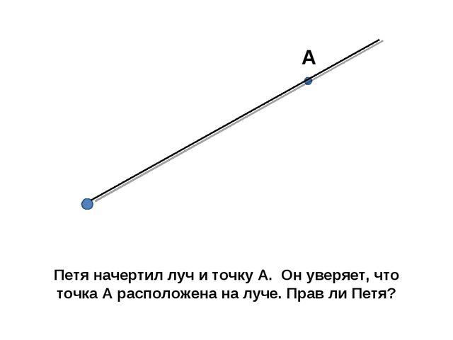 А Петя начертил луч и точку А. Он уверяет, что точка А расположена на луче. П...