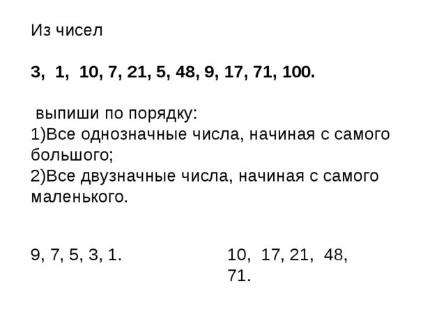 Из чисел 3, 1, 10, 7, 21, 5, 48, 9, 17, 71, 100. выпиши по порядку: Все одноз...