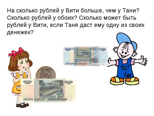 На сколько рублей у Вити больше, чем у Тани? Сколько рублей у обоих? Сколько...