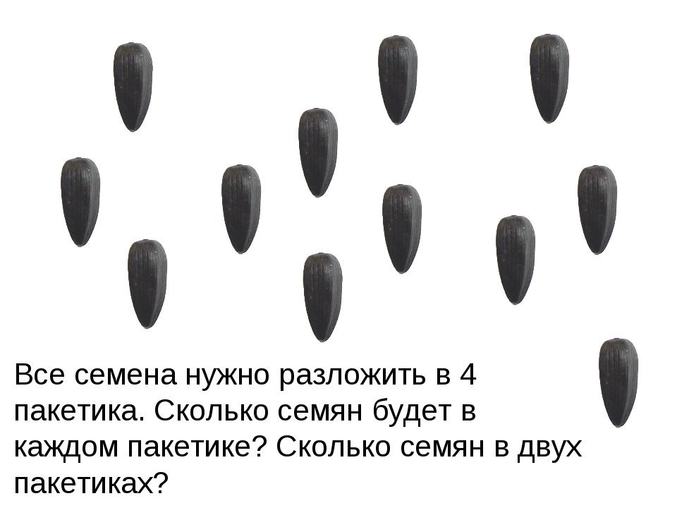Все семена нужно разложить в 4 пакетика. Сколько семян будет в каждом пакетик...