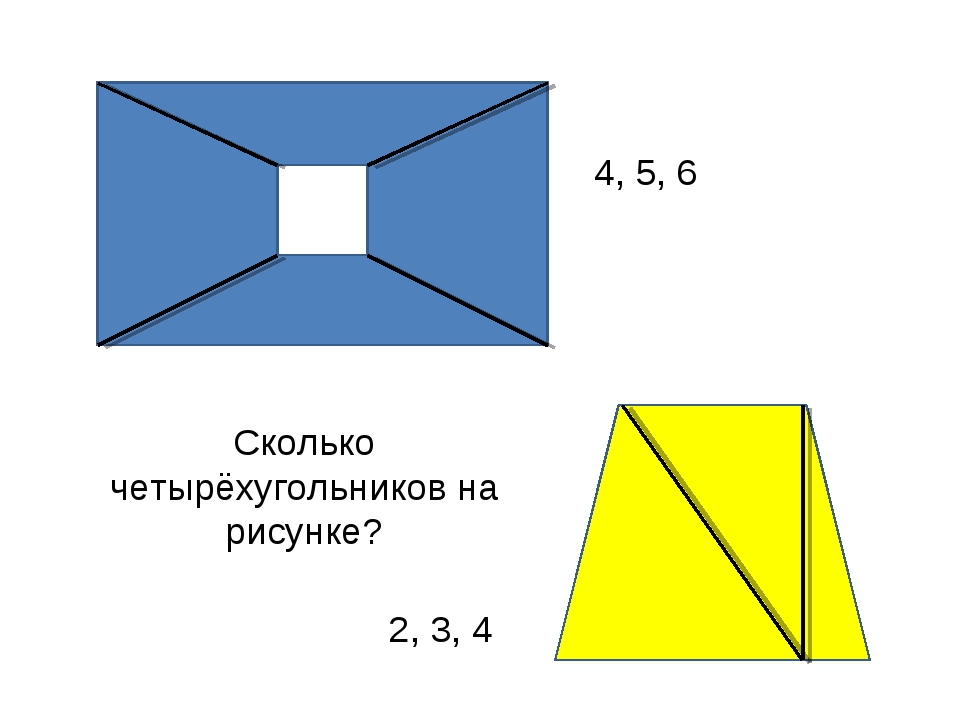Сколько четырёхугольников на рисунке? 4, 5, 6 2, 3, 4