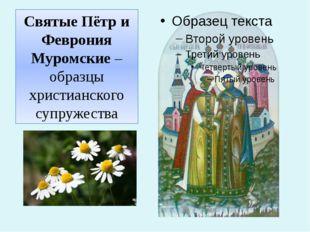 Святые Пётр и Феврония Муромские –образцы христианского супружества
