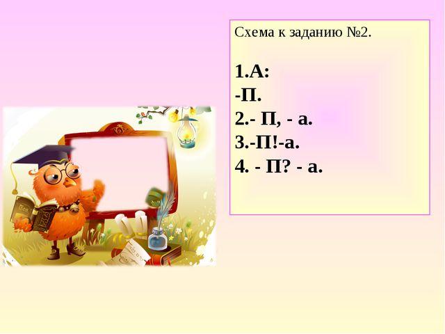 Схема к заданию №2. 1.А: -П. 2.- П, - а. 3.-П!-а. 4. - П? - а.