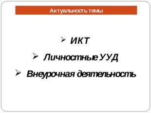 Актуальность темы ИКТ Личностные УУД Внеурочная деятельность