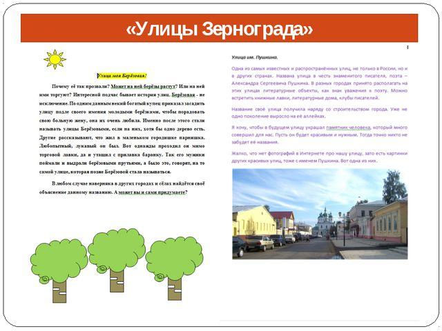 «Улицы Зернограда» «Улицы Зернограда»