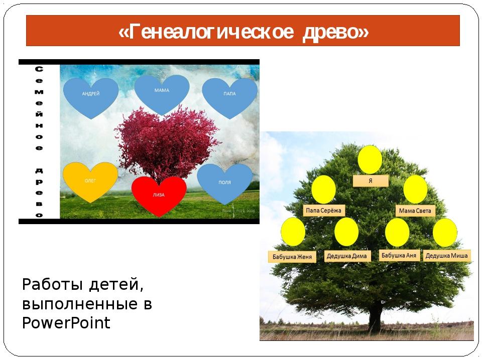 «Генеалогическое древо» Работы детей, выполненные в PowerPoint