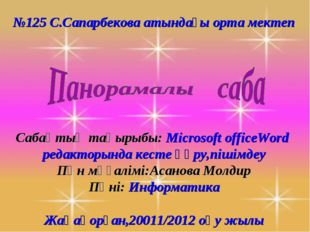 №125 С.Сапарбекова атындағы орта мектеп Сабақтың тақырыбы: Microsoft officeWo