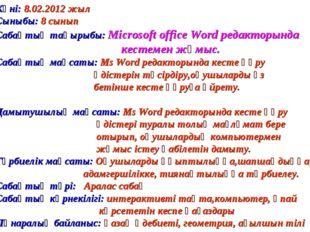 Күні: 8.02.2012 жыл Сыныбы: 8 сынып Сабақтың тақырыбы: Microsoft office Word