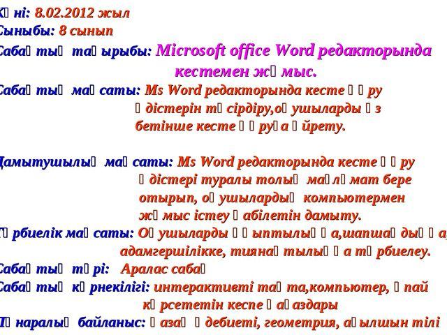 Күні: 8.02.2012 жыл Сыныбы: 8 сынып Сабақтың тақырыбы: Microsoft office Word...