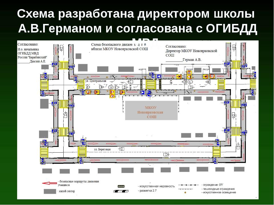 Схема разработана директором школы А.В.Германом и согласована с ОГИБДД МВД.