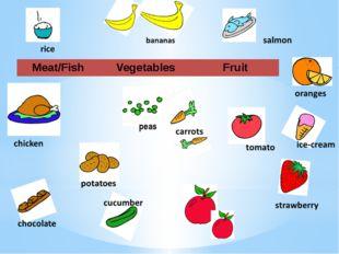 peas cucumber Meat/Fish Vegetables Fruit