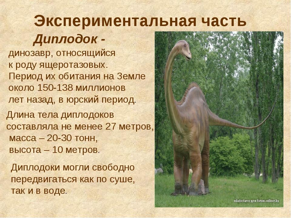 Экспериментальная часть Диплодок - динозавр, относящийся к роду ящеротазовых....