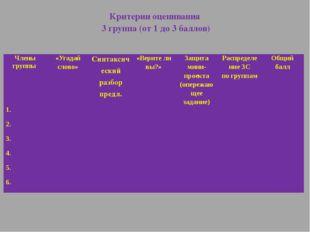 Критерии оценивания 3 группа (от 1 до 3 баллов) Члены группы «Угадай слово» С