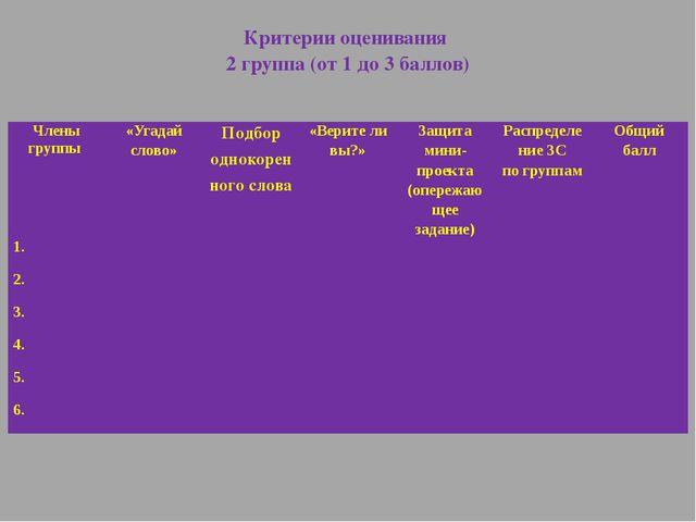 Критерии оценивания 2 группа (от 1 до 3 баллов) Члены группы «Угадай слово» П...