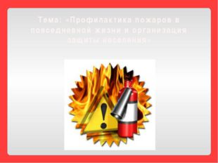 Тема: «Профилактика пожаров в повседневной жизни и организация защиты населен