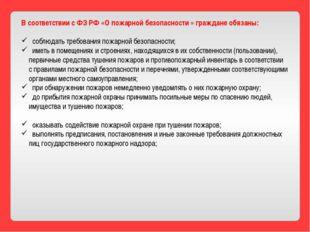 В соответствии с ФЗ РФ «О пожарной безопасности » граждане обязаны: соблюдать