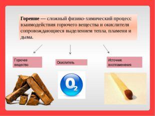 Горение— сложный физико-химический процесс взаимодействия горючего вещества
